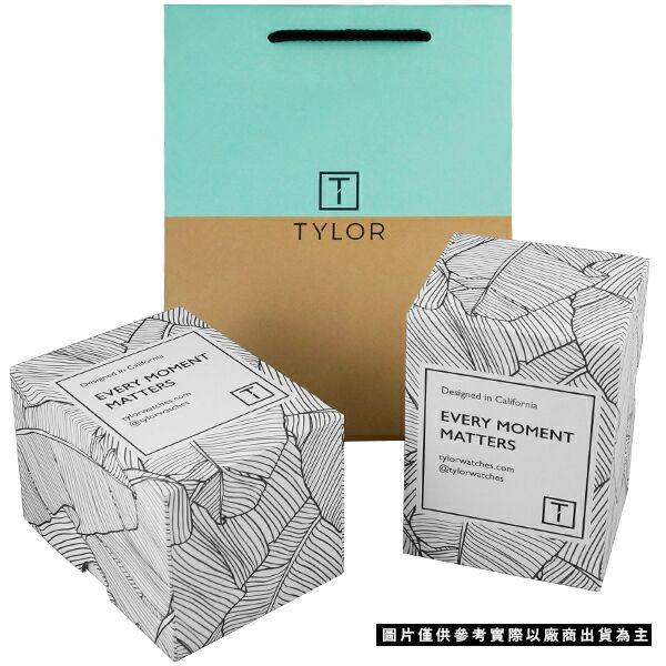 TYLOR 簡約時尚皮革手錶-黑/43mm