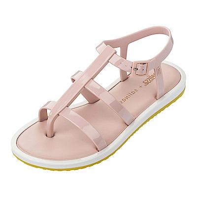 Melissa 撞色羅馬平底涼鞋-粉/白/黃