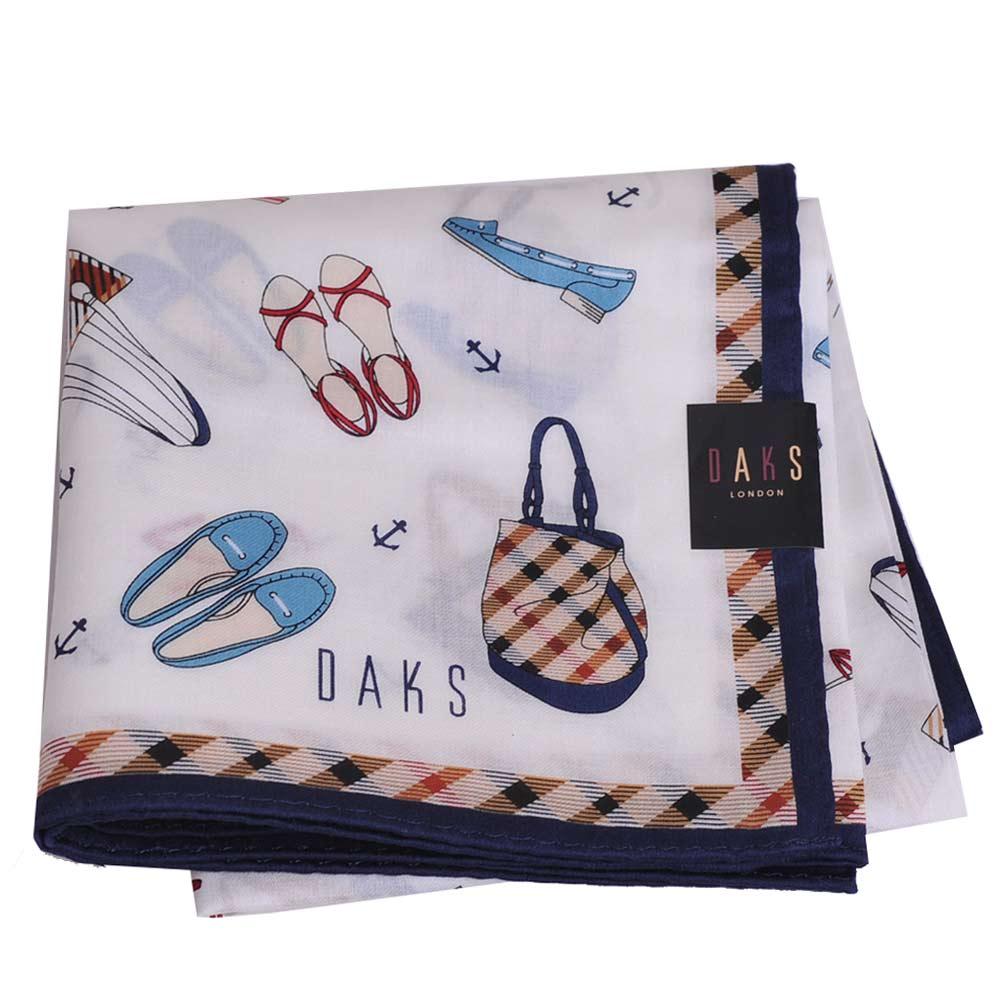 DAKS 經典包包配件字母logo圖騰格紋滾邊帕領巾(白/深藍邊)