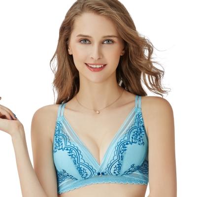 思薇爾 啵時尚花心思系列B-E罩無鋼圈蕾絲包覆內衣(礦水藍)