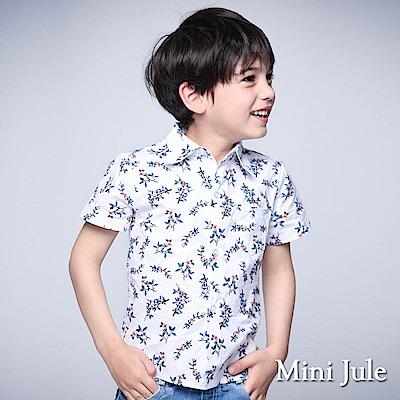 Mini Jule 童裝-襯衫 滿版花卉單口袋短袖襯衫(藍)