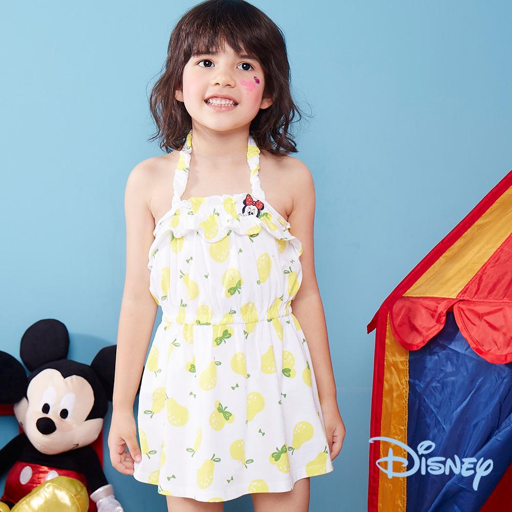 Disney 夏日米妮細帶荷葉棉洋裝 白色