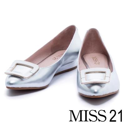 楔型鞋 MISS 21 摩登金屬方釦全真皮尖頭楔型鞋-銀