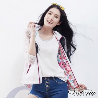Victoria 花花網布透視輕薄外套-女-白色