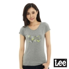 Lee 短袖T恤 連袖白色花朵點綴LEE文字印刷 -女款(麻花灰)