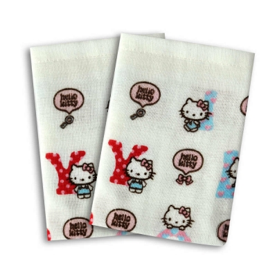 SANRIO三麗鷗授權Hello Kitty凱蒂貓英文字紗蘿方巾(6入)