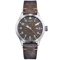 DAVOSA Neoteric Pilot 經典飛行員系列腕錶-灰黑面/皮帶/42mm