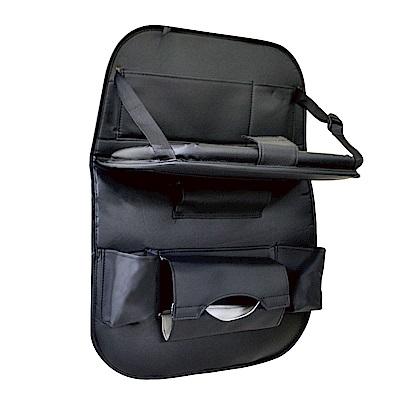 SECAR 皮革椅背平板收納袋 沉穩黑(單入)