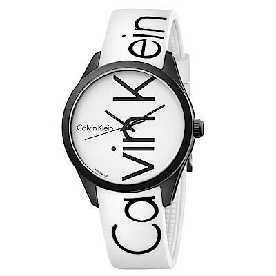 CK CALVIN KLEIN Color 炫彩系列白色品牌字樣手錶-40mm