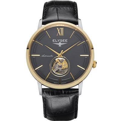 ELYSEE Picus 小鏤空經典機械錶-金色x黑色/41mm