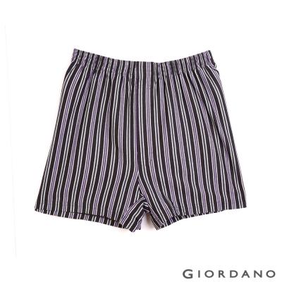 GIORDANO 高品味沉穩條紋配色四角褲(96 黑紫條)