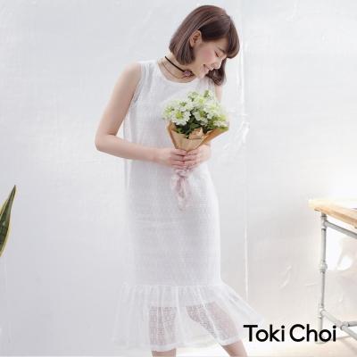 東京著衣 兩件式蕾絲拼接荷葉洋裝-XS.S.M(共二色)