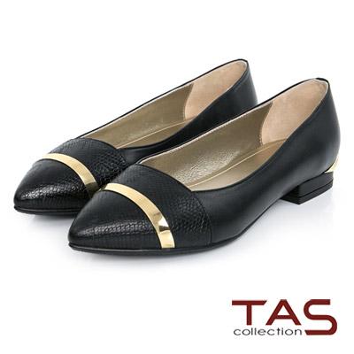 TAS-一字金屬飾片拼接尖頭娃娃鞋-蛇紋黑