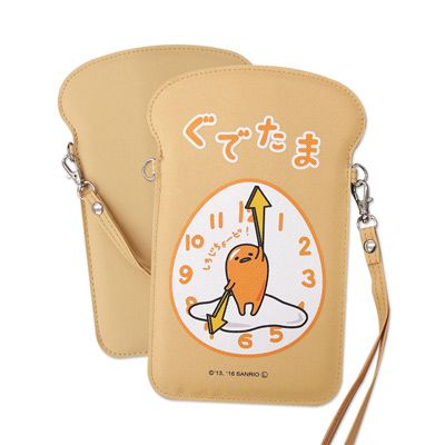 三麗鷗正版 蛋黃哥吐司造型手機袋 手拿包(時鐘)