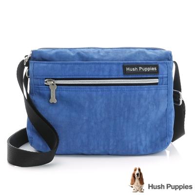 Hush Puppies素色休閒小斜背包-寶藍色