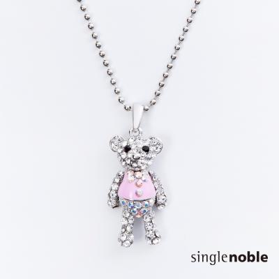 獨身貴族 幸運小熊滿版水鑽設計項鍊(2色)