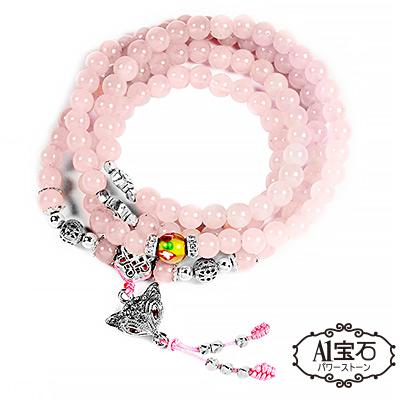 A1寶石 魅力小狐仙-銀飾粉水晶108念珠-日本限定款-增強魅力、招財開運(含開光加持) @ Y!購物