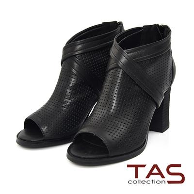 TAS-交叉剪裁沖孔牛皮魚口高跟鞋-俐落黑