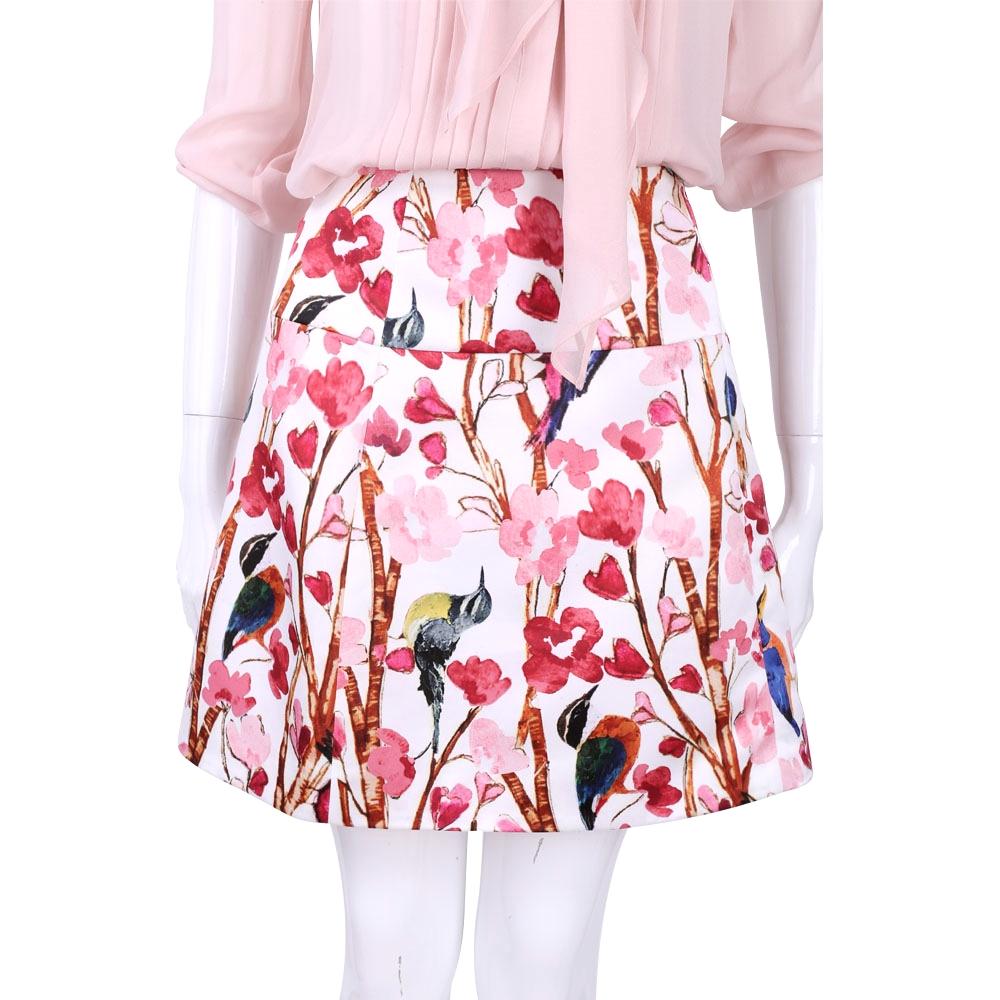 BLUGIRL 粉紅色印花圖樣拼接短裙