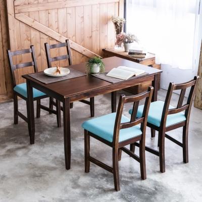 CiS自然行- 實木餐桌椅組一桌四椅 74x118公分/焦糖+湖水藍椅墊