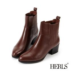 HERLS 時尚簡約 真皮兩側鬆緊粗跟短靴-深棕色