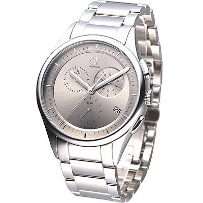 cK Basic 經典紳士風三眼計時腕錶-銀灰/44mm