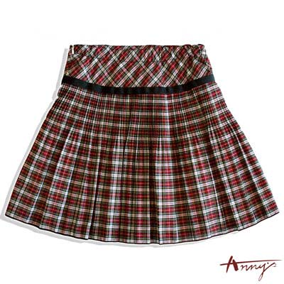 Annys經典蘇格蘭薄透飄逸百褶短裙*6184紅