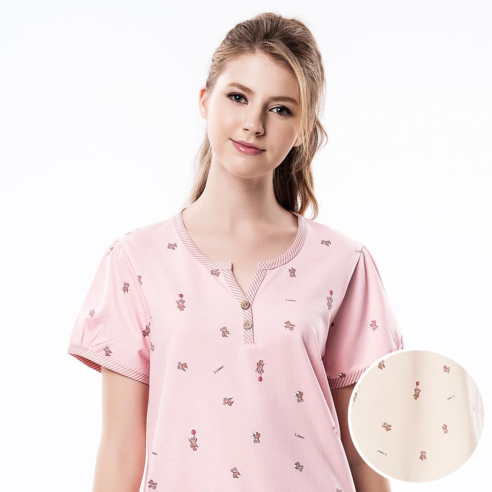 羅絲美睡衣 -氣球熊熊短袖洋裝睡衣(活潑黃)