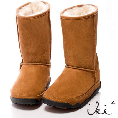 iki2魅力滿載-機能性美腿麂皮雪靴-長筒-中咖