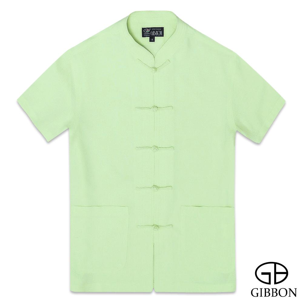 GIBBON 麻紗感涼夏透氣短袖唐裝‧淺綠M~3L