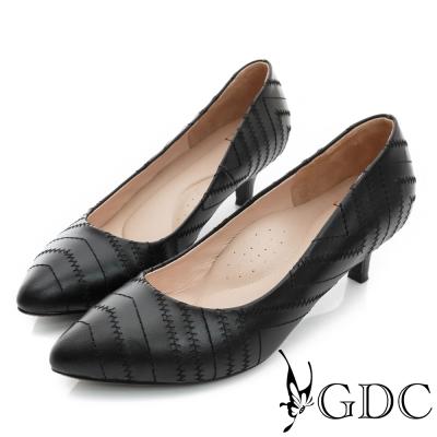 GDC-時尚斜紋縫線裝飾真皮尖頭低跟鞋-黑色