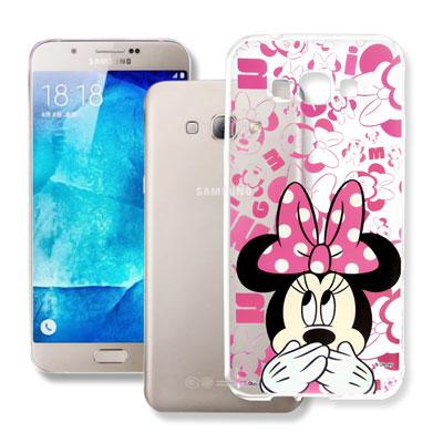 迪士尼 Samsung Galaxy A8 大頭透明手機軟殼(摀嘴米妮)