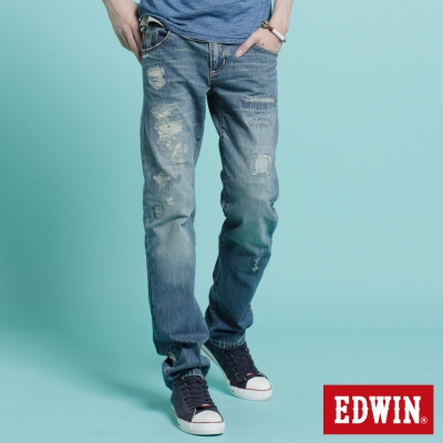 EDWIN-無畏個性-B-T破壞中直筒牛仔褲-男