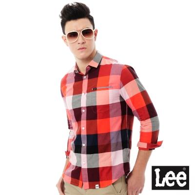 Lee 格紋長袖襯衫Regional系列-男款-紅