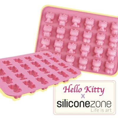 Siliconezone 施理康耐熱Hello Kitty造型巧克力模/冰模(24連)