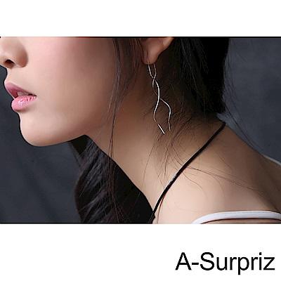 A-Surpriz 韓劇款100%925銀旋轉曲線耳環