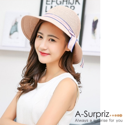 A-Surpriz 柔美優雅蝴蝶結遮陽帽(粉)