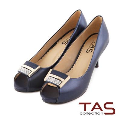 TAS-方形水鑽金屬光澤魚口高跟鞋-優雅藍