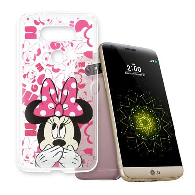 迪士尼 LG G5 / H860  大頭透明手機軟殼(摀嘴米妮)