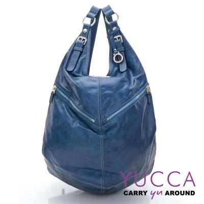 YUCCA - 牛皮多功能後/肩背包 -藍色-D0082046C66