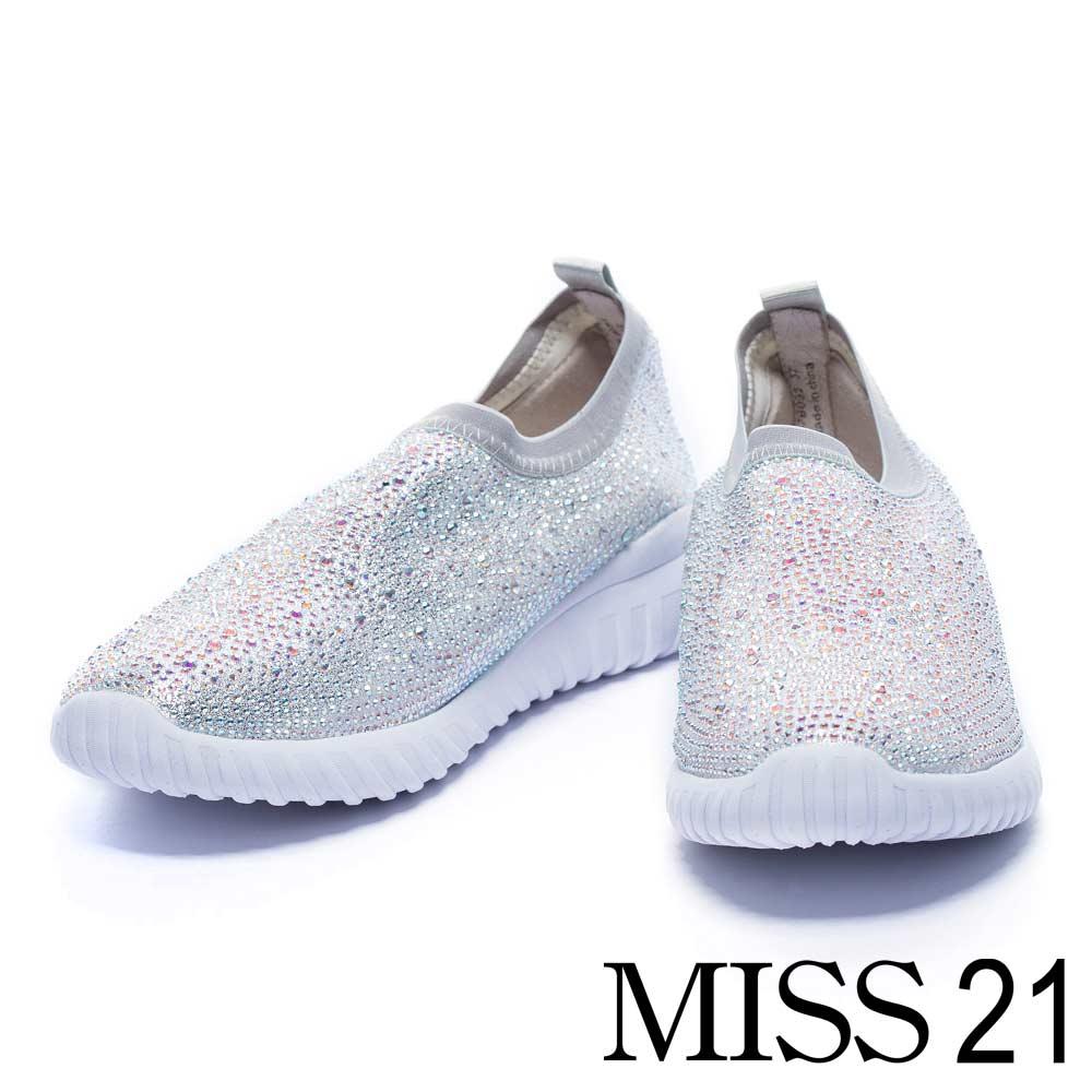 休閒鞋 MISS 21 華麗水鑽彈力布厚底休閒鞋-灰