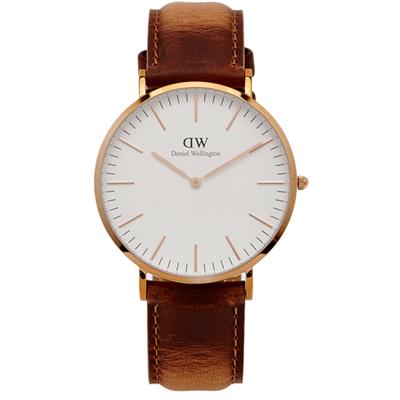 DW Durham手錶(DW00100109)-玫瑰金x咖啡色/40mm