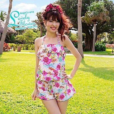 【AngelLuna日本泳裝】印花平口三件式比基尼泳衣-粉色連身褲