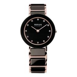 BERING丹麥精品手錶 晶鑽刻度陶瓷錶系列 藍寶石鏡面 玫瑰金x黑29mm