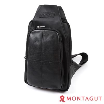 MONTAGUT夢特嬌-防潑水尼龍配頭層牛皮防搶胸包-698