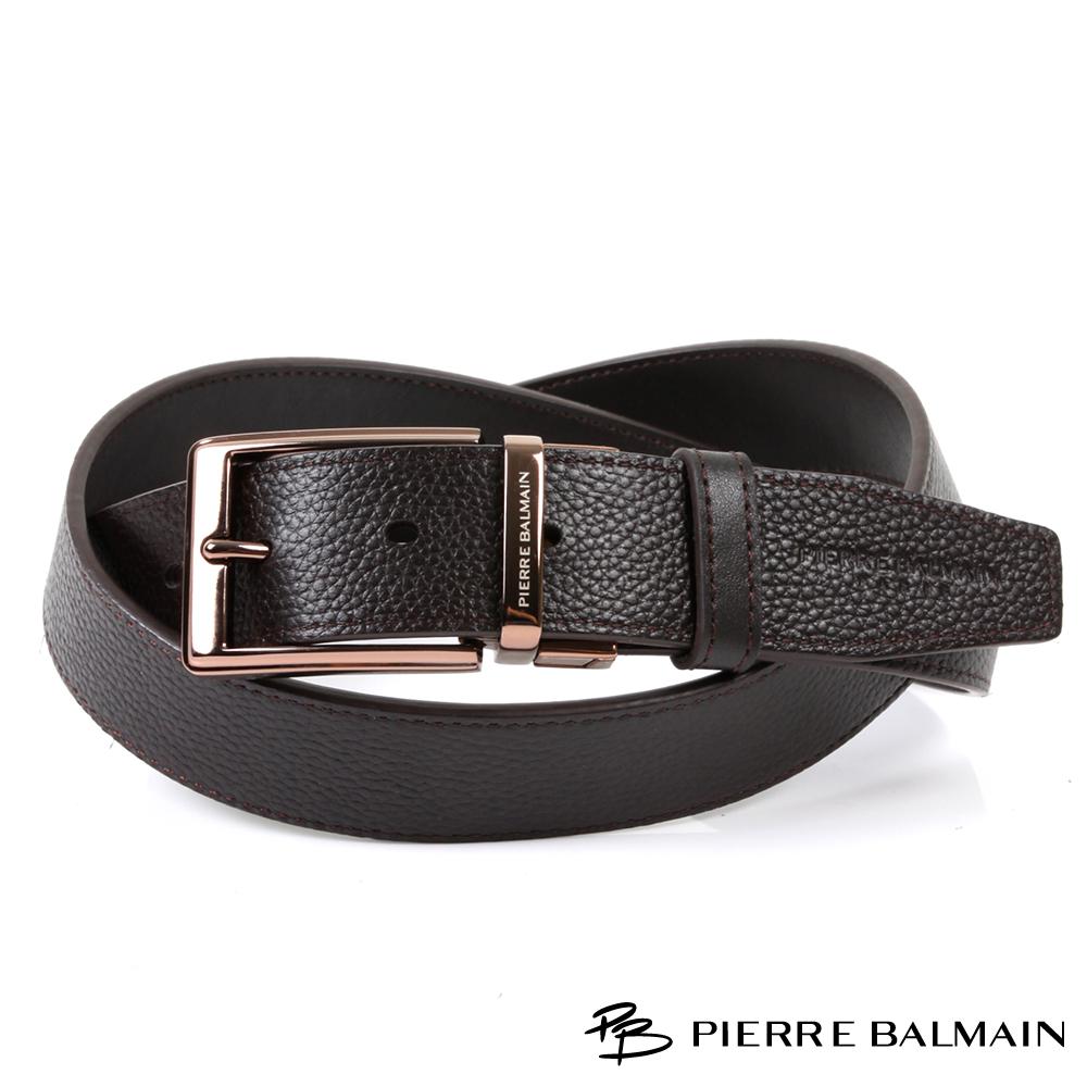 PB皮爾帕門-英倫方正頭層牛皮雙面翻轉休閒針扣皮帶-883