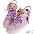 Ann'SXB2B貓咪鎖頭柏金包內增高球鞋 粉紫