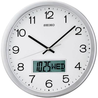 SEIKO 精工 雙顯 恒動式秒針靜音掛鐘-白/35cm