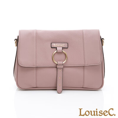 LouiseC. 義大利牛皮經典方型斜背包-石灰粉-03C01-0056A10