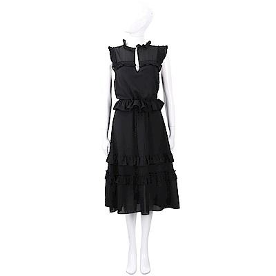 PINKO 抓褶荷葉細節黑色珍珠釦紗質洋裝